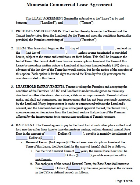 mn rental agreement template free minnesota commercial lease
