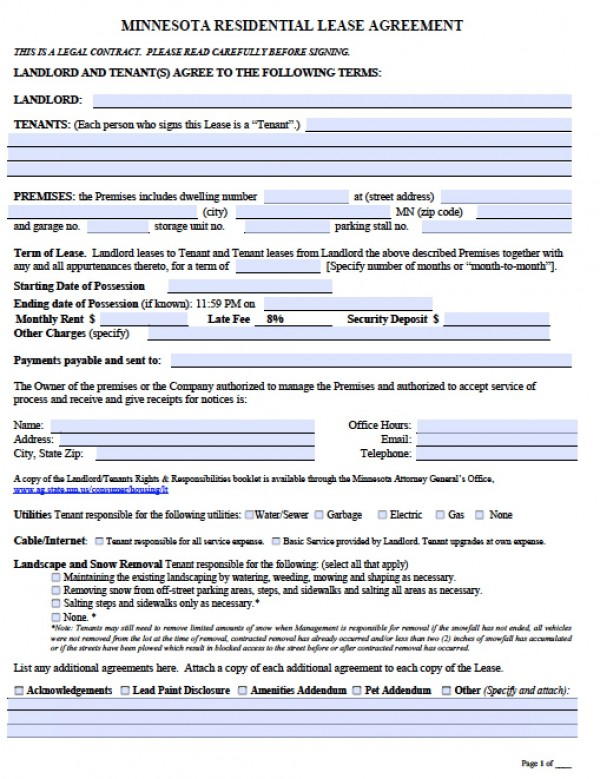mn rental agreement template free minnesota month to month lease