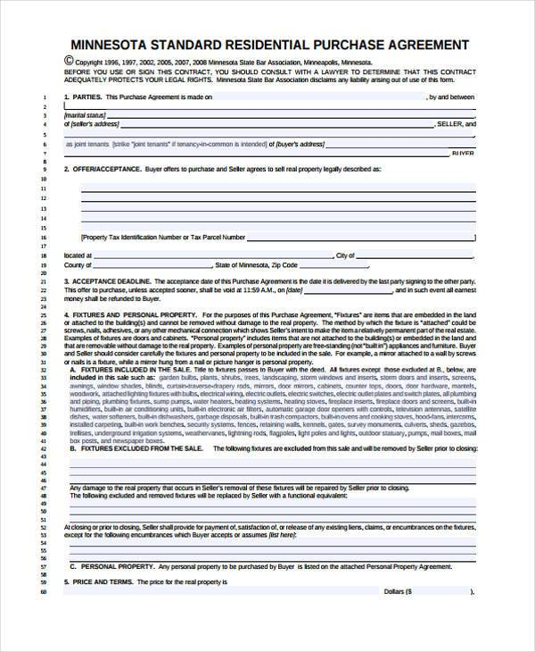 Free Minnesota Lease to Own (Option to Purchase) Agreement Form