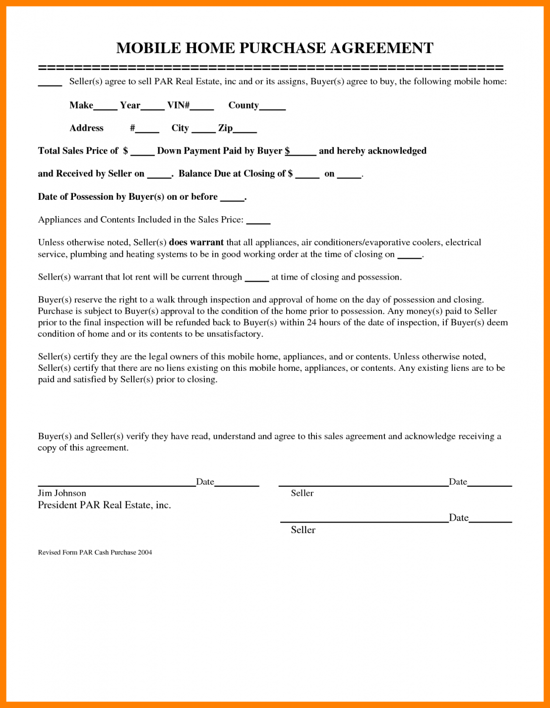 Free Mobile (Manufactured) Home Bill of Sale Form PDF | Word