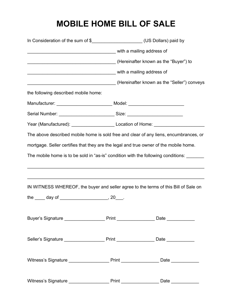 Mobile Home Purchase Agreement Template