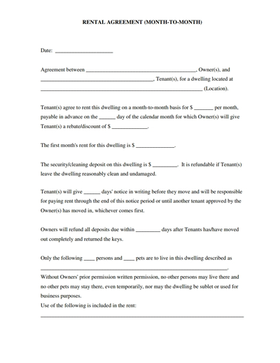 monthly rental agreement template month rental agreement template