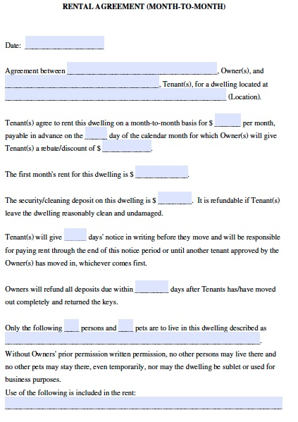 Month To Month Rental Agreement Fill Online, Printable, Fillable