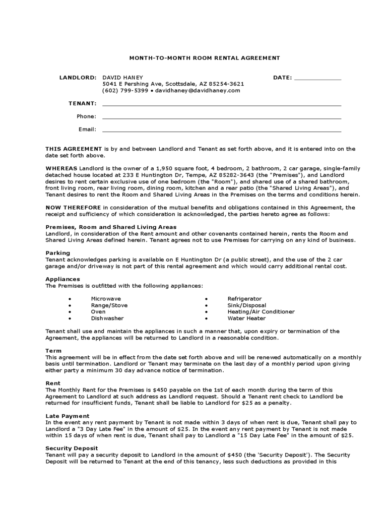 Room Rental Agreement Forms and Templates Fillable & Printable