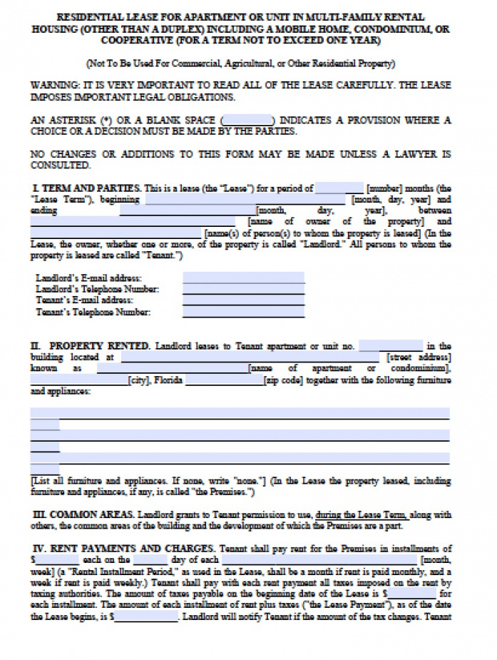 Free Florida Month To Month Lease Agreement | Pdf | Word (.doc