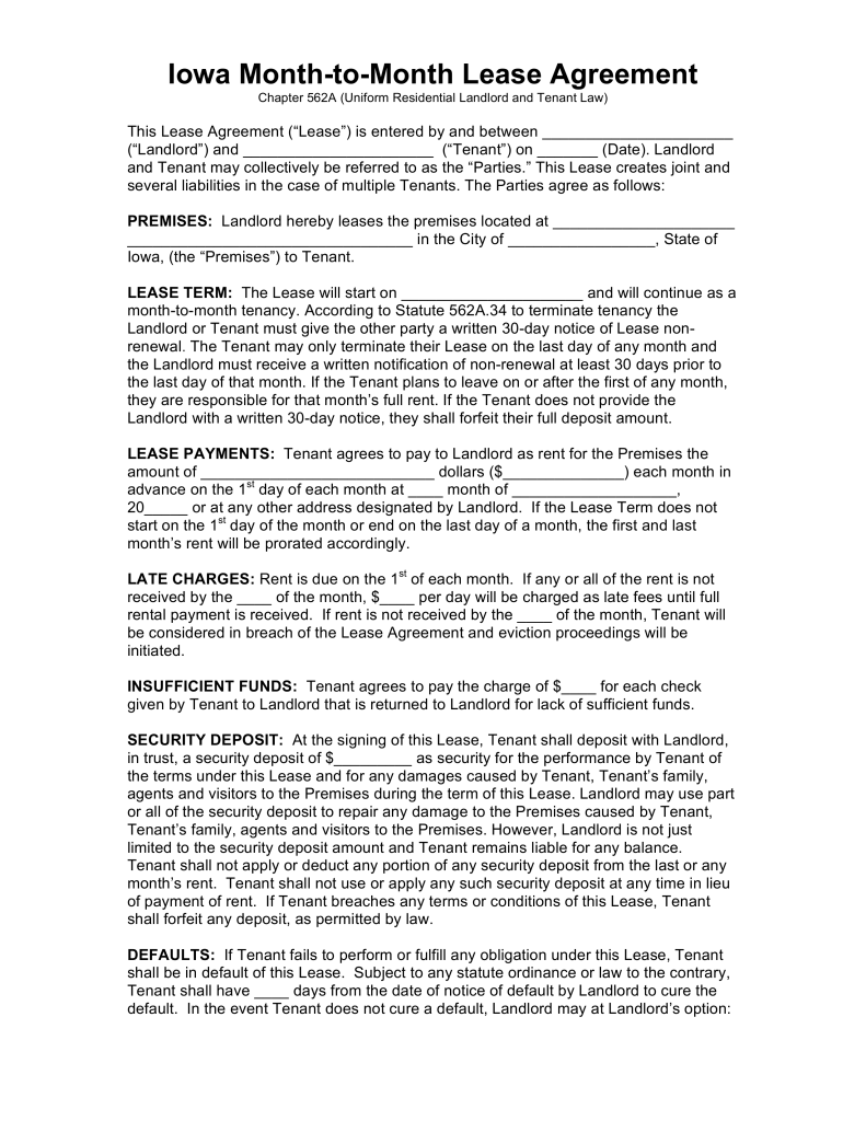 Free Iowa Month to Month Rental Agreement Template PDF | Word