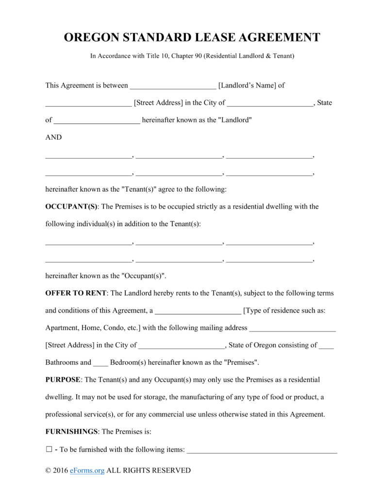 Free Oregon Standard Residential Lease Agreement Template PDF