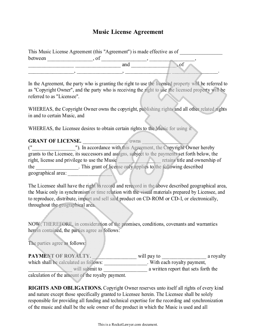 Sample Music License Agreement Form Template | EXTORTION GANG