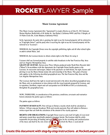 Music License Agreement Free Music License Agreement Template