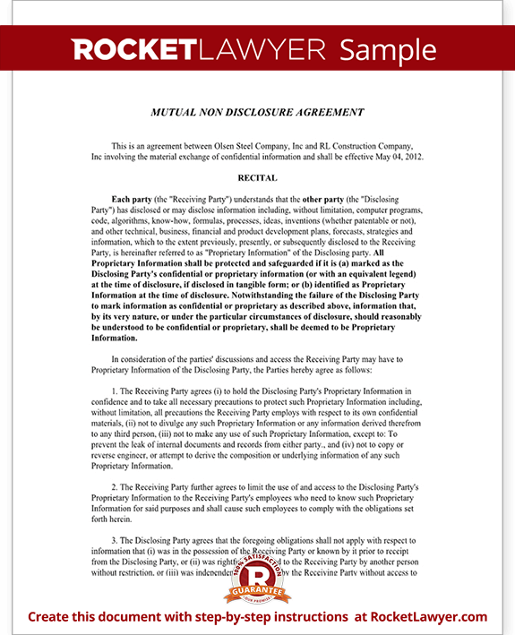 Mutual Non Disclosure Agreement (NDA) Template Mutual