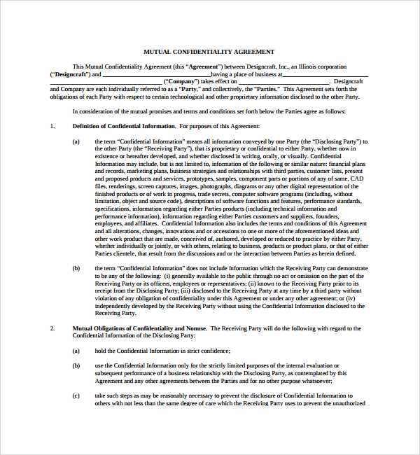 8+ Mutual Confidentiality Agreements | Sample Templates