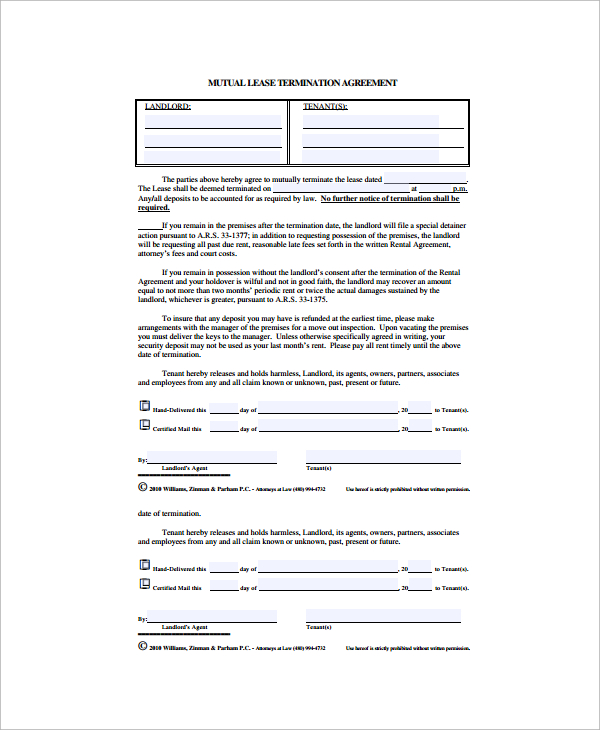 lease break agreement template mutual termination of employment