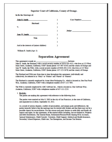 free separation agreement template nc free separation agreement