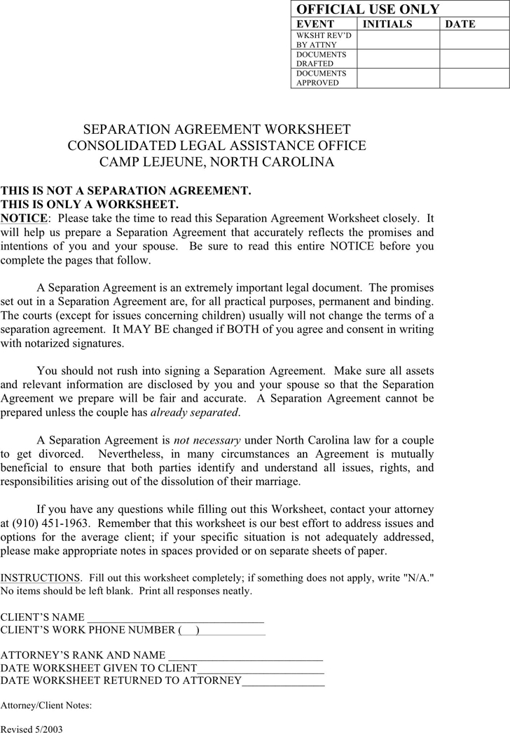 nc separation agreement template free separation agreement
