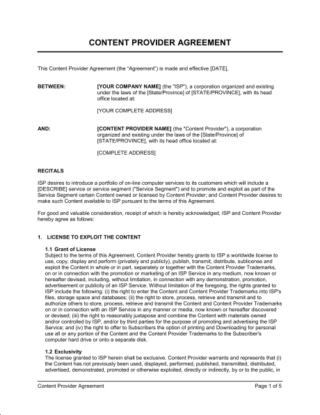 Content Provider Agreement Template & Sample Form | Biztree.com