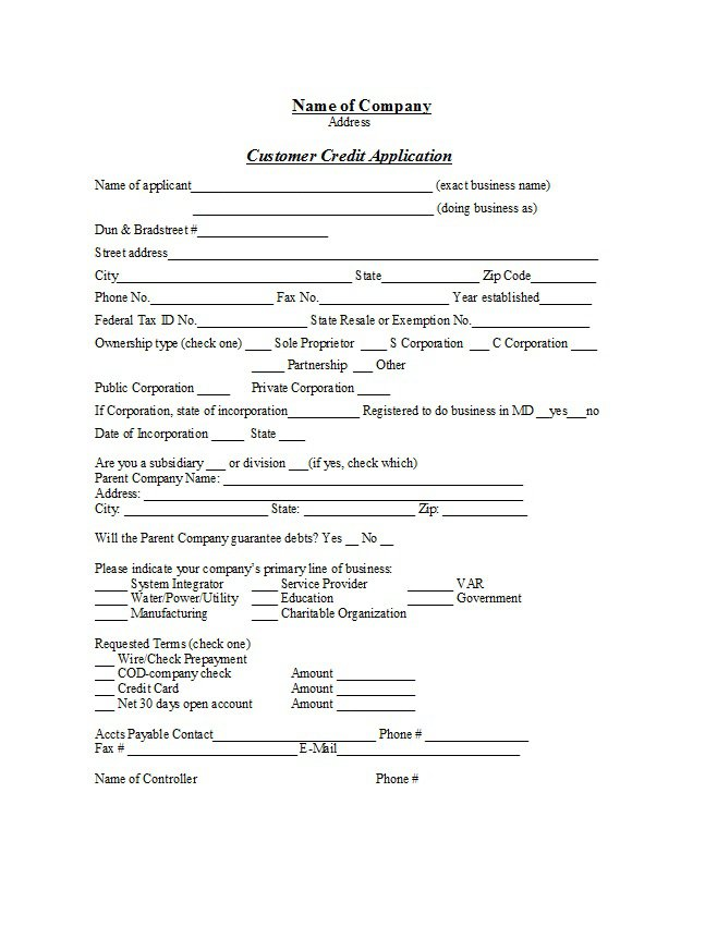 30 day credit agreement template 40 free credit application form