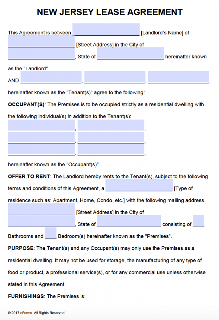 Free New Jersey Residential Lease Agreement – PDF – Word