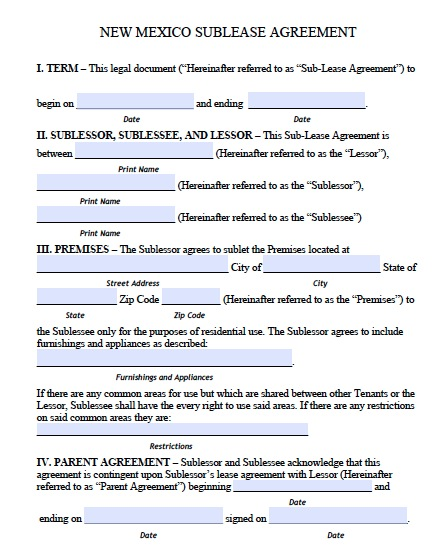 nm residential lease agreement template free new mexico sublet