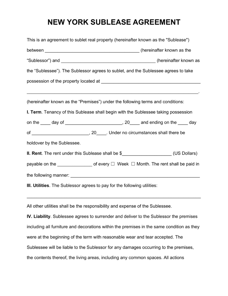 Free New York SubLease Agreement Template PDF