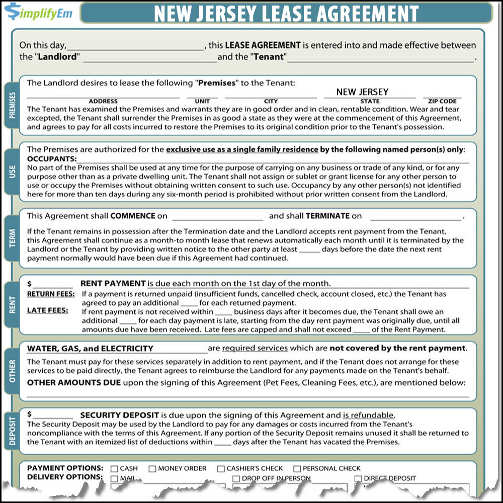 New Jersey Residential Lease