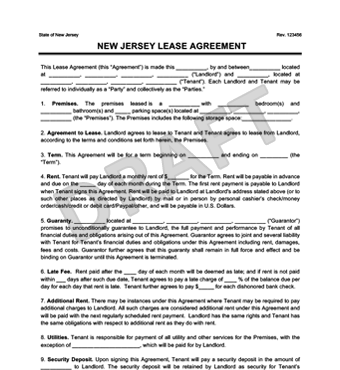 New Jersey Residential Lease Agreement | Create & Download