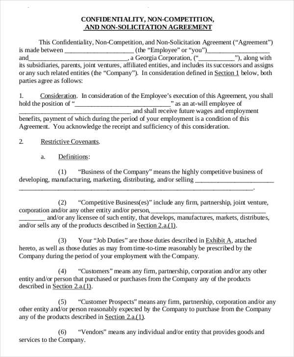 business templates noncompete agreement 11 standard non compete