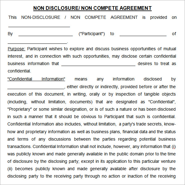 non disclosure non compete agreement template word non compete