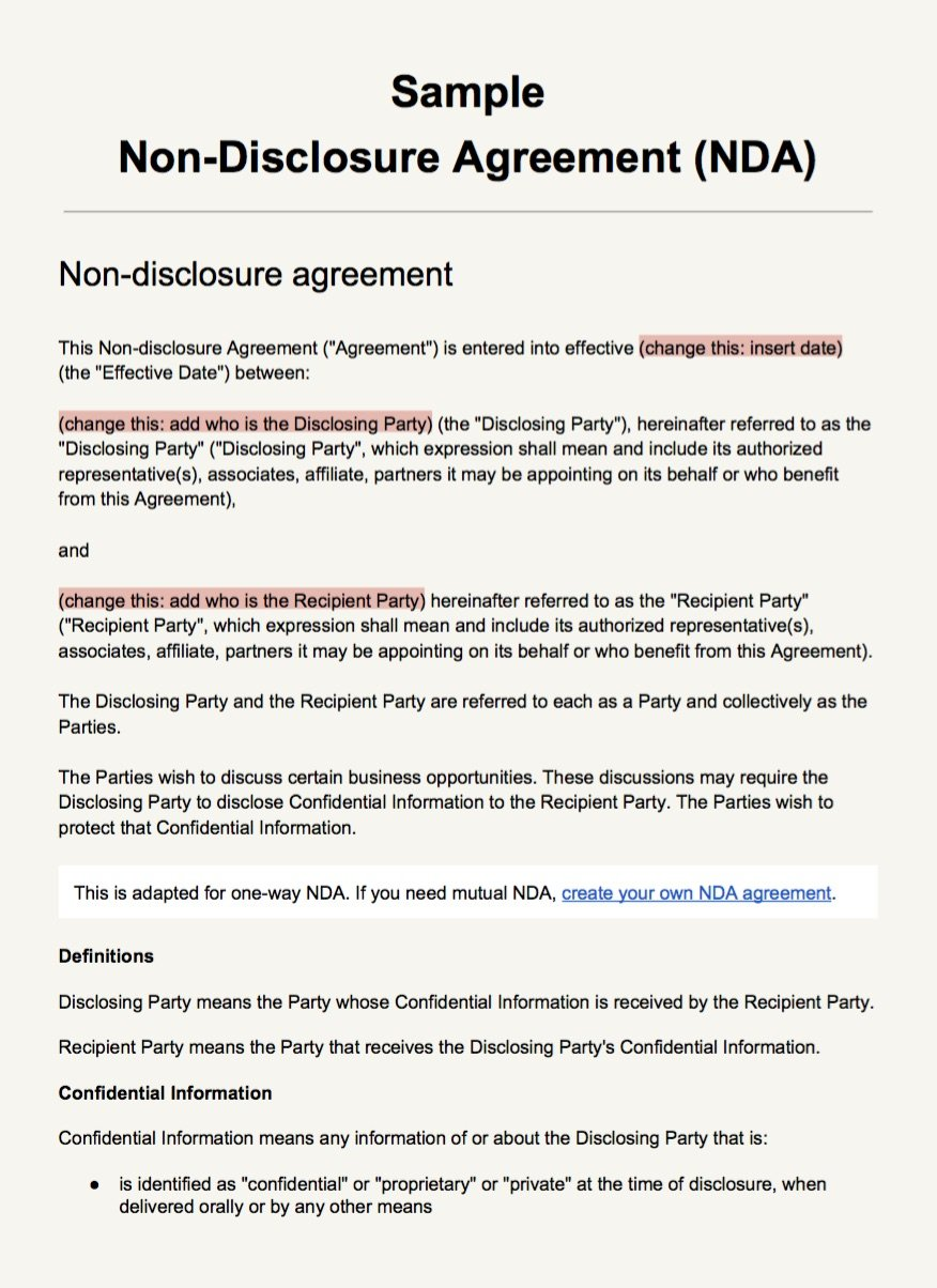 Non Disclosure Agreement Example