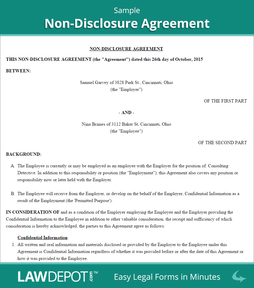 Non Disclosure Agreement Template| Free NDA (US) | LawDepot
