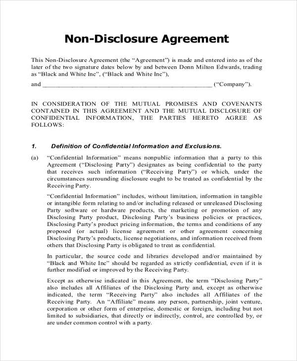 non disclosure agreement template pdf nda free template printable