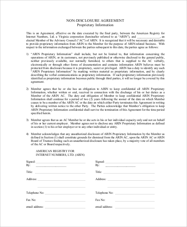 10+ Sample Non Disclosure Agreements in PDF | Sample Templates