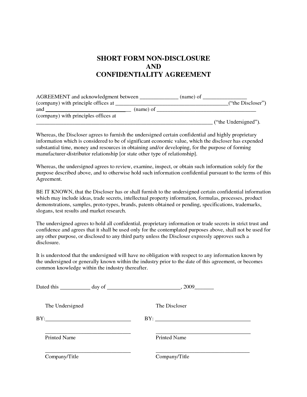 Sample Non Disclosure Agreement Ideas Collection Disclosure