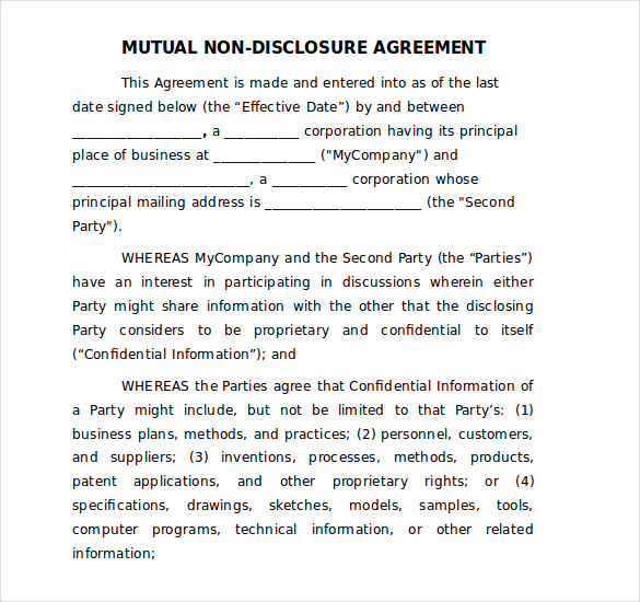 free non disclosure agreement template word 19 word non disclosure