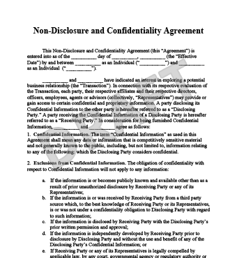 free non disclosure agreement template non disclosure