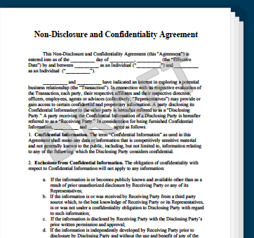 patent non disclosure agreement template non disclosure agreement