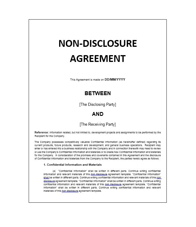 nondisclosure agreement template 40 non disclosure agreement