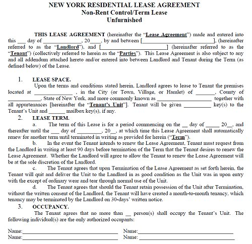 ny residential lease agreement template new york lease agreement