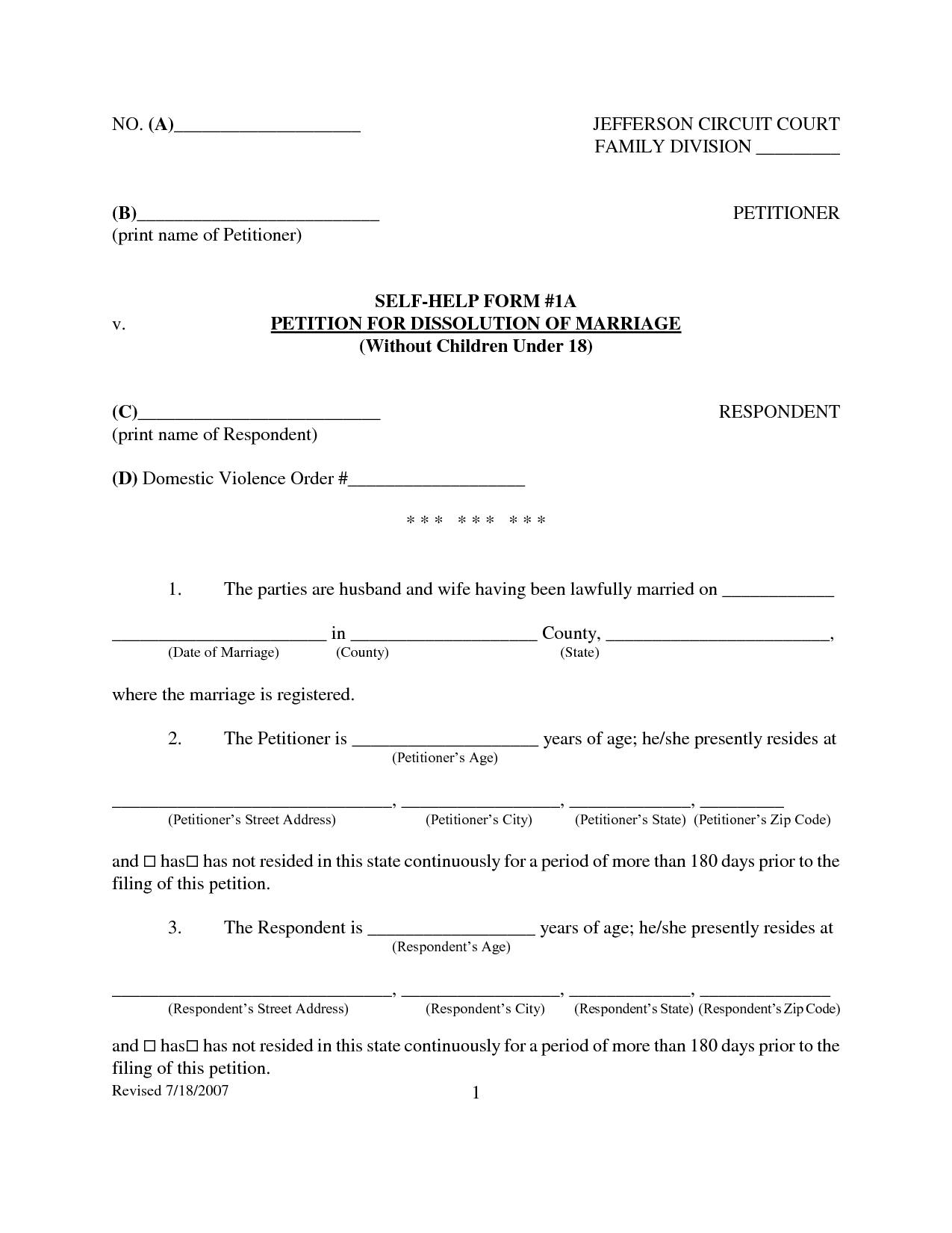 Agreement: Free Printables Separation Agreement Form. Separation