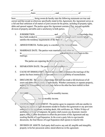 Legal Separation Sample Forms