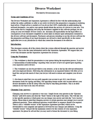 Divorce Worksheet & Separation Agreement Divorce Source