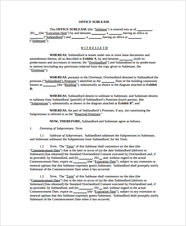 10+ Office Lease Agreement Templates | Sample Templates