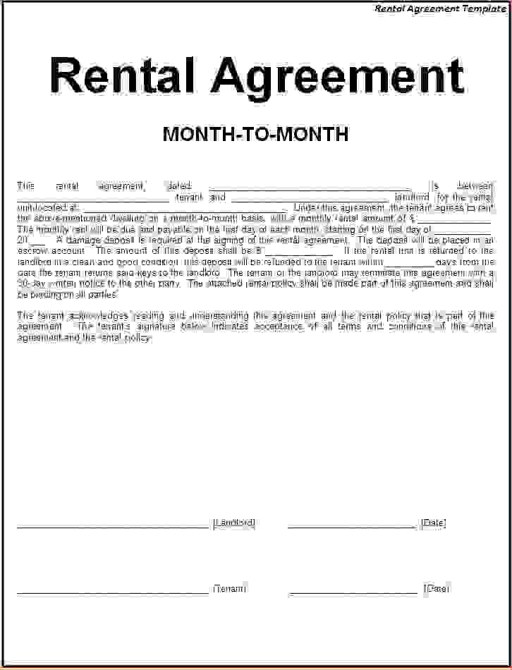 4+ simple one page rental agreementReport Template Document