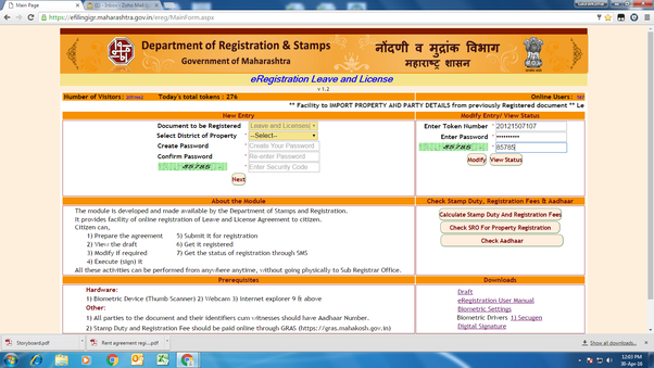 Online Leave and License Agreement/Rent Agreement & Aadhaar Card