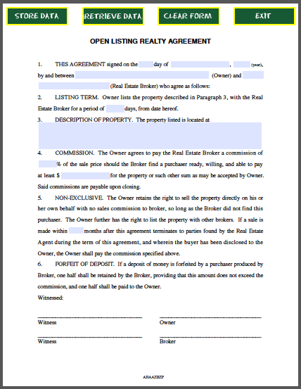 STANDARD OPEN LISTING AGREEMENT Nevada Legal Forms & Tax
