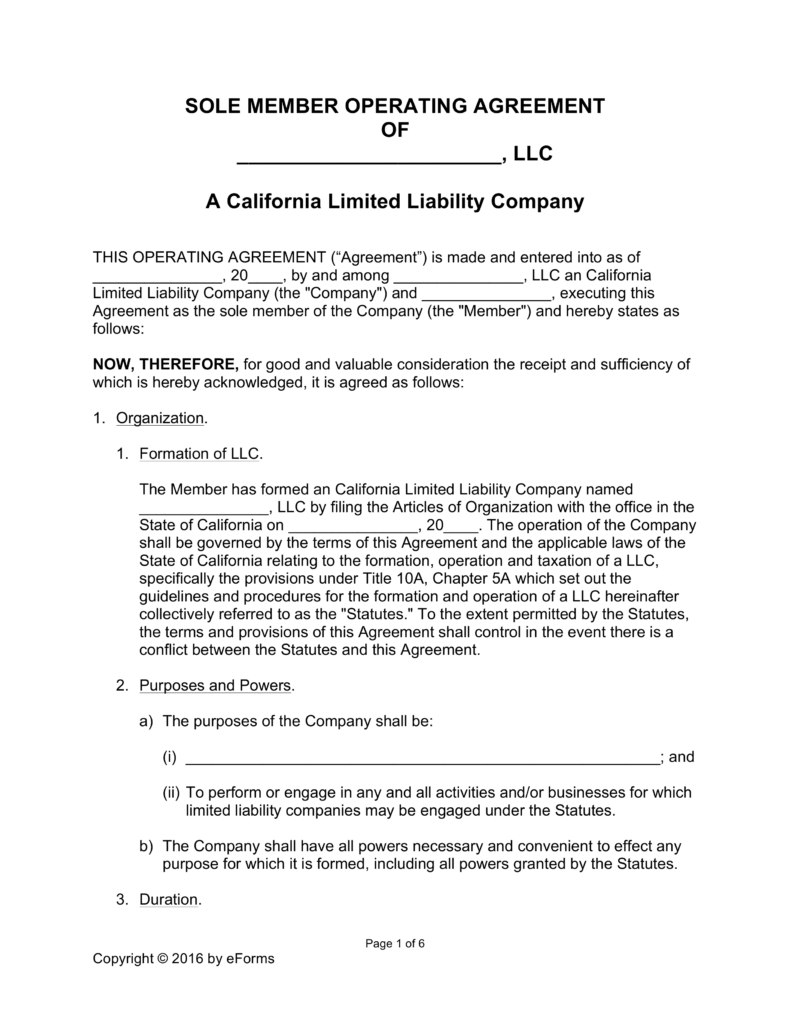 California Single Member LLC Operating Agreement Form | eForms