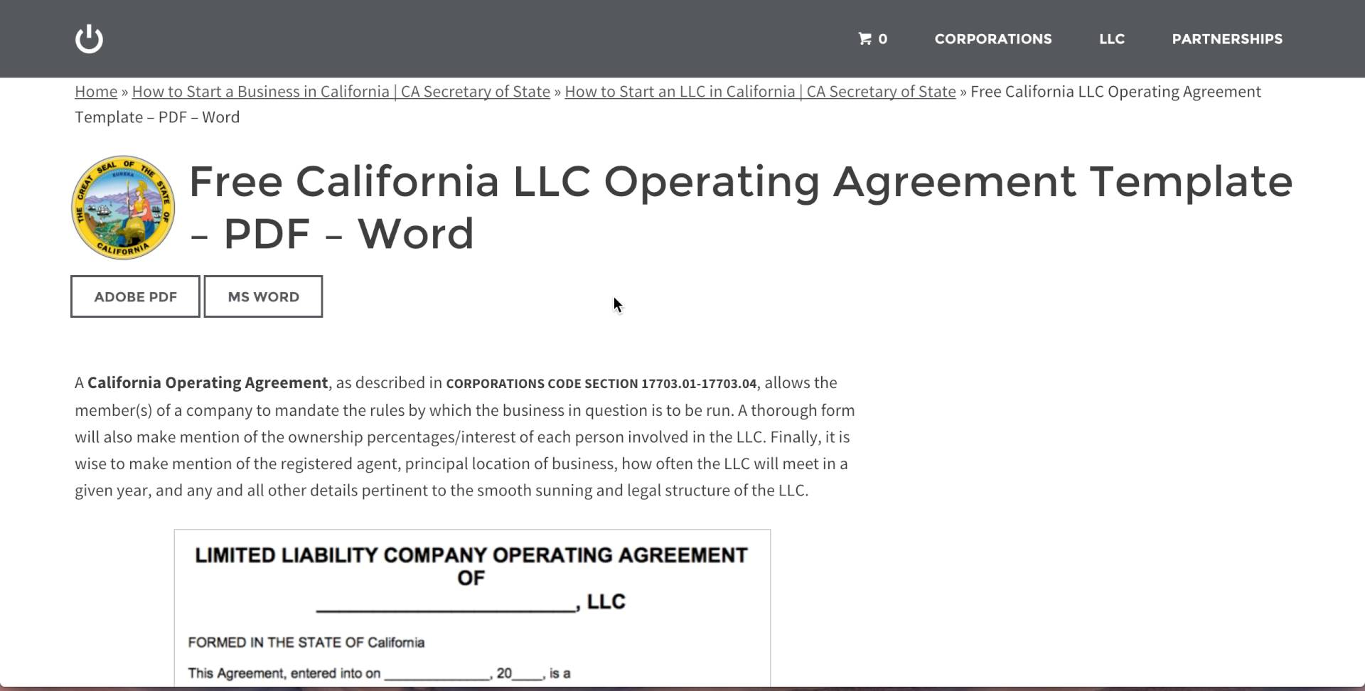 Free California LLC Operating Agreement Template – PDF – Word