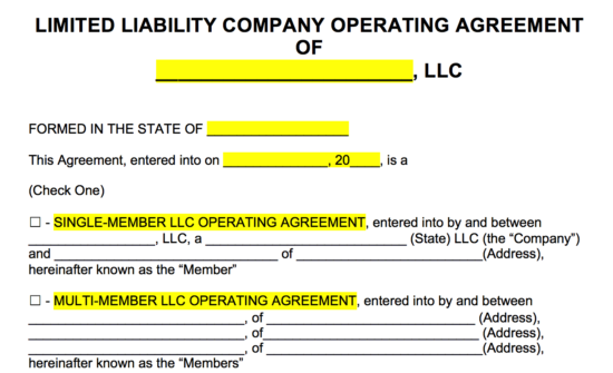 Free LLC Operating Agreement Templates PDF | Word | eForms