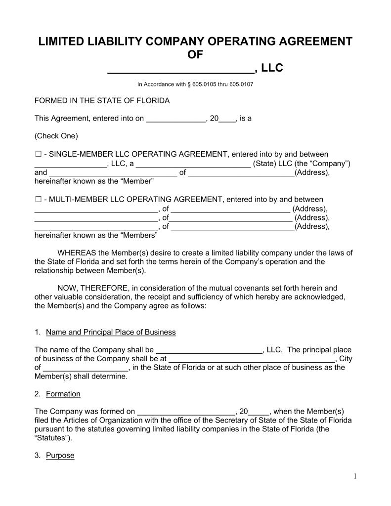Free Florida LLC Operating Agreement Forms PDF | Word | eForms