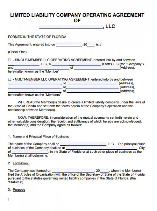 Free Florida LLC Operating Agreement Template | PDF | Word |