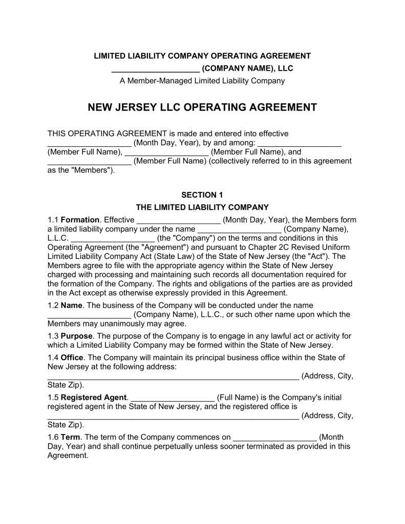 New Jersey Multi Member LLC Operating Agreement Form | eForms